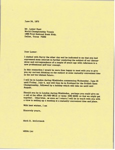 Thumbnail of Letter from Mark H. McCormack to Lamar Hunt