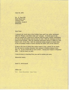 Thumbnail of Letter from Mark H. McCormack to R. Paul Ziff