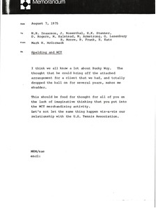 Thumbnail of Memorandum from Mark H. McCormack to H. R. Isaacson, Jules Rosenthal, H. K.             Stanner, D. Rogers, M. Halstead, M. Armostrong, G. Lazenbury, R. Moore, B. Frank and H.             Katz
