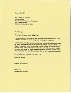 Thumbnail of Letter from Mark H. McCormack to George P. Hinckley