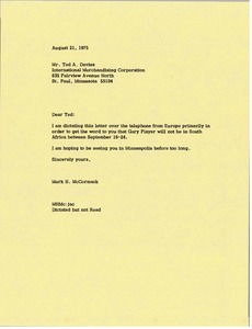 Thumbnail of Letter from Mark H. McCormack to Ted Davies