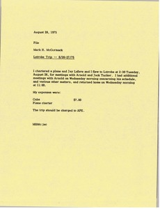 Thumbnail of Memorandum from Mark H. McCormack to travel file