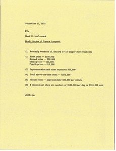 Thumbnail of Memorandum from Mark H. McCormack concerning the World Series of Tennis proposal