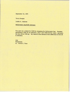 Thumbnail of Memorandum from Judy A. Chilcote to Terry Reagan