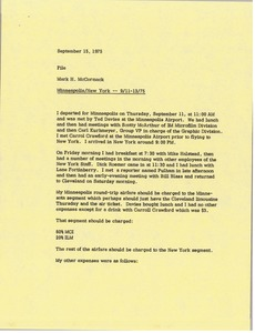 Thumbnail of Memorandum from Mark H. McCormack concerning his trips to Minneapolis and New York from September 11 to 13, 1975