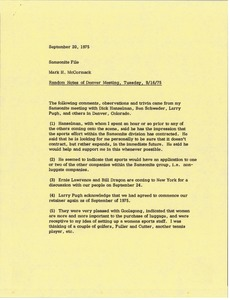 Thumbnail of Memorandum from Mark H. McCormack concerning the Samsonite meeting of Tuesday, September 16, 1975 in Denver, Colorado
