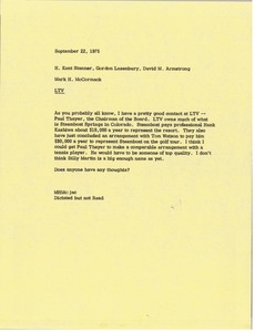 Thumbnail of Memorandum from Mark H. McCormack to H. Kent Stanner, Gordon Lazenbury, and David M. Armstrong