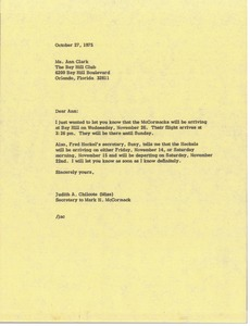 Thumbnail of Letter from Judy A. Chilcote to Ann Clark