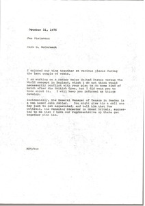 Thumbnail of Memorandum from Mark H. McCormack to Jan Steinmann