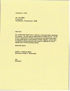 Thumbnail of Letter from Judy A. Chilcote to Donald W. Giffin