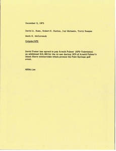Thumbnail of Memorandum from Mark H. McCormack to David A. Rees, Robert S. Burton Jay Michaels and Terrence P. Reagan