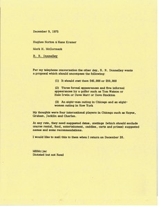 Thumbnail of Memorandum from Mark H. McCormack to Hughes Norton and Hans Kramer