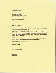 Thumbnail of Letter from Mark H. McCormack to Tom Cermola