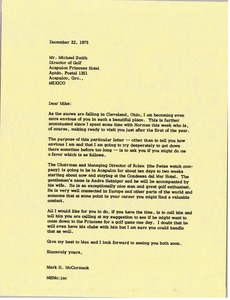 Thumbnail of Letter from Mark H. McCormack to Mike Smith