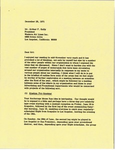 Thumbnail of Letter from Mark H. McCormack to Arthur F. Kelly