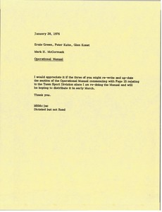 Thumbnail of Memorandum from Mark H. McCormack to Ernie Green, Peter Kuhn and Glen Konet