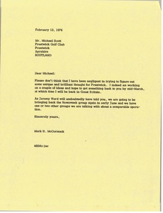 Thumbnail of Letter from Mark H. McCormack to Michael Scott