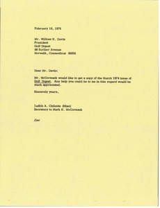 Thumbnail of Letter from Judy A. Chilcote to William H. Davis