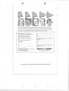 Thumbnail of Order form for Star Grip golf gloves