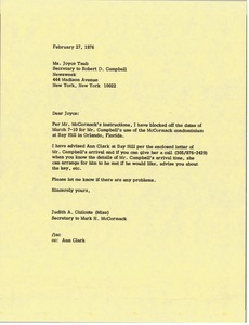 Thumbnail of Letter from Judy A. Chilcote to Joyce Taub