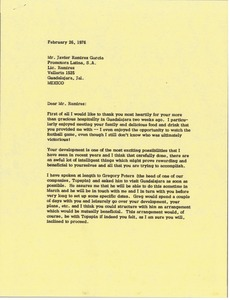 Thumbnail of Letter from Mark H. McCormack to Javier Ramirez Garcia