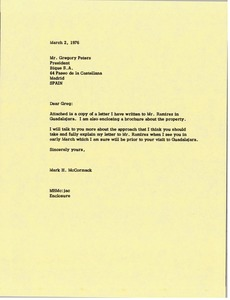 Thumbnail of Letter from Mark H. McCormack to Gregory Peters