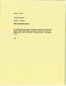 Thumbnail of Memorandum from Judy A. Chilcote to those concerned