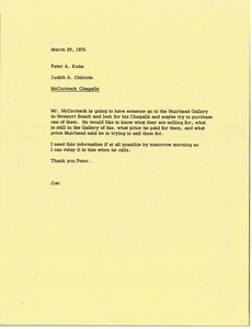 Thumbnail of Memorandum from Judy A. Chilcote to Peter A. Kuhn