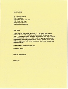 Thumbnail of Letter from Mark H. McCormack to Michael Gurley