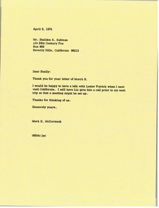 Thumbnail of Letter from Mark H. McCormack to Shelly Saltman