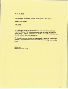 Thumbnail of Memorandum from Mark H. McCormack to Jay Michaels, Richard E. Moore, Barry Frank and Mike Clark
