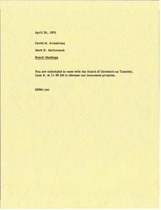 Thumbnail of Memorandum from Mark H. McCormack to David Armstrong