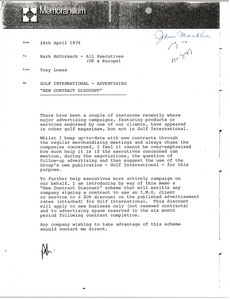 Thumbnail of Memorandum from Tony Lomax to Mark H. McCormack