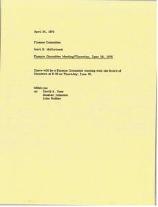 Thumbnail of Memorandum from Mark H. McCormack to finance committee