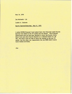 Thumbnail of Memorandum from Judy A. Chilcote to Jay Michaels