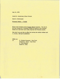 Thumbnail of Memorandum from Mark H. McCormack to David M. Armstrong and Hans Kramer