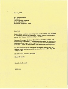 Thumbnail of Letter from Mark H. McCormack to Robert Wussler