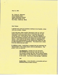 Thumbnail of Letter from Mark H. McCormack to Dwane M. Wittmayer