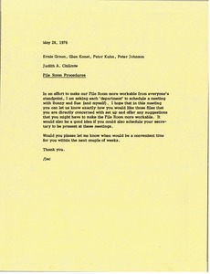 Thumbnail of Memorandum from Judy A. Chilcote to Ernie Green, Glen Konet, Peter Kuhn and             Peter Johnson