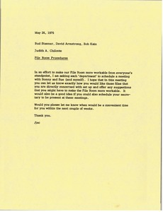 Thumbnail of Memorandum from Judy A. Chilcote to Bud Stanner, David Armstrong and Bob Kain