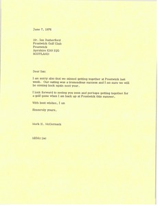 Thumbnail of Letter from Mark H. McCormack to Ian Rutherford