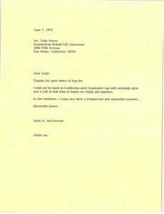 Thumbnail of Letter from Mark H. McCormack to Judy Myers