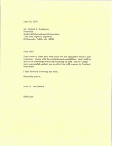 Thumbnail of Letter from Mark H. McCormack to Robert A. Anderson