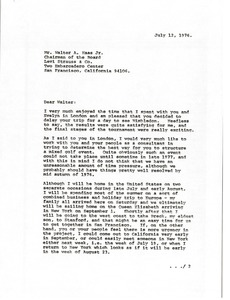 Thumbnail of Letter from Mark H. McCormack to Walter A. Haas