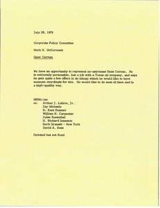 Thumbnail of Memorandum from Mark H. McCormack to corporate policy committee