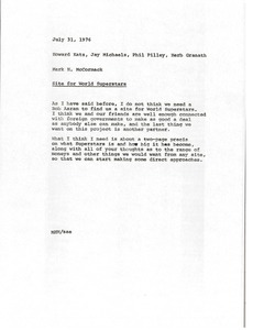 Thumbnail of Memorandum from Mark H. McCormack to Howard Katz, Jay Michaels, Phil Pilley, and Herb Granath