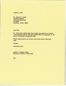 Thumbnail of Letter from Judy A. Chilcote to Robert B. Jollow