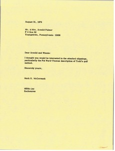 Thumbnail of Letter from Mark H. McCormack to Arnold and Winnie Palmer