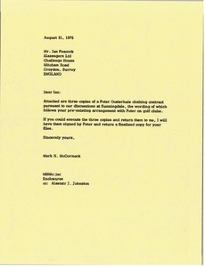 Thumbnail of Letter from Mark H. McCormack to Ian Peacock