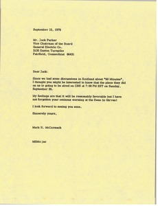 Thumbnail of Letter from Mark H. McCormack to Jack S. Parker